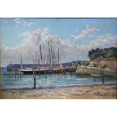 """Jean Georges Pasquet (1851-1936) """"Port de Saint Georges de Didonne """" 1915"""