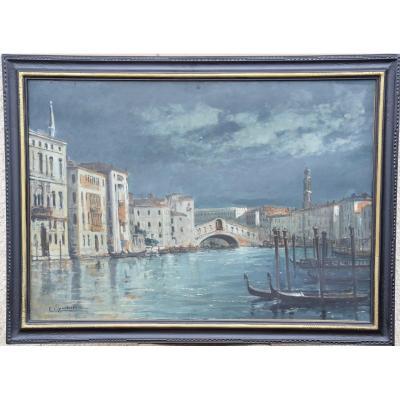 """Eugène C.Lambert """"Le pont du Rialto sur le grand Canal à Venise ,la nuit"""" .Huile sur toile"""