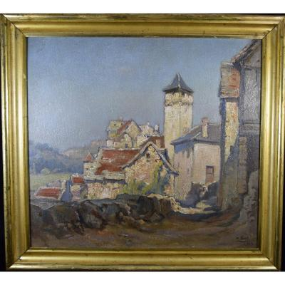 "Marius Gueit ( 1877-1956) "" village de Salvagnac en Aveyron ,Huile sur carton"