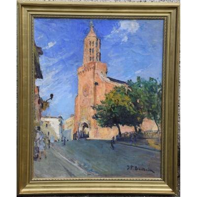 """Jean Frank Baudoin ( 1870-1961) """"L'église Saint Jacques à Montauban"""" Huile sur toile"""