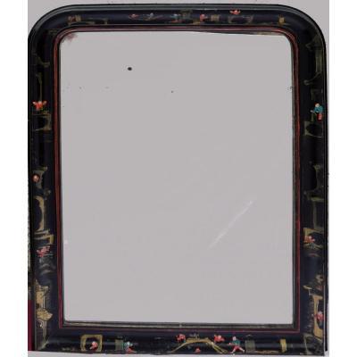 Miroir Louis Philippe en bois laqué noir et décor japonisant