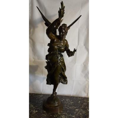 """Bourgeois Maximilien , grand bronze """" La Renommée"""",XIXème"""