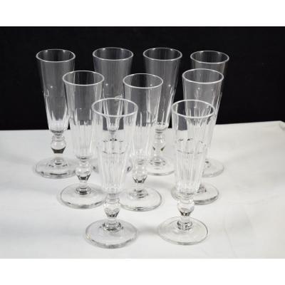 Série de 9 flûtes à champagne en cristal  Baccarat/ Saint Louis  vers 1900