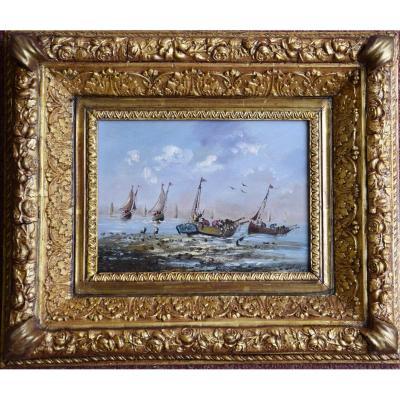 """Pierre Julien Gilbert  (1783- 1860) ,""""Retour de pêche"""" huile sur panneau."""