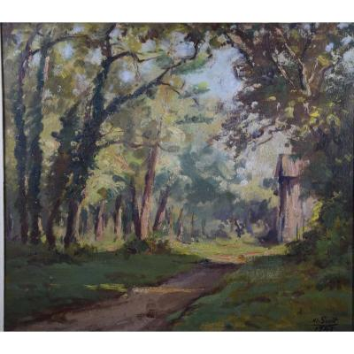 """Marius Gueit  (1877-1956) """" le Chemin de la maison forestière"""",huile surcarton"""