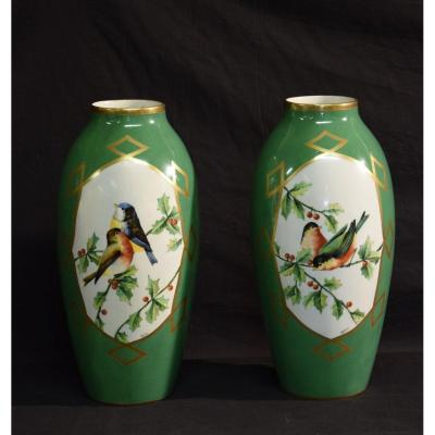 Pair Of Limoges Porcelain Vases Signed Chanteraud