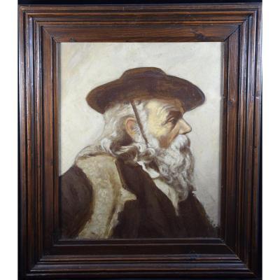Portrait Of An Old Italian Shepherd, Oil On Canvas XIXth