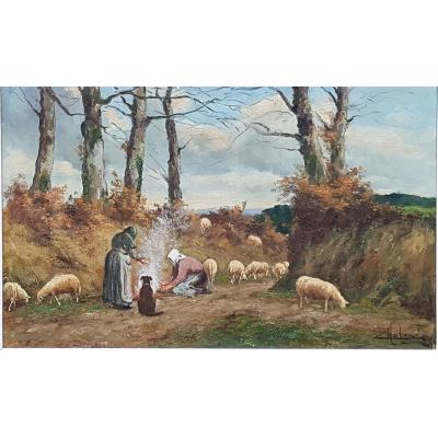 This large oil on a sign signed (lower right) Camille Merlaud represents a champ&eacute;tre and winter scene, with two shepherdess warming themselves next to a fire and this, together with their dog and their flock of sheep&nbsp;<br /> This painting is typical of the works of Camille Merlaud ( 1877-1957) who used to paint on the spot the landscapes and scenes of rural life around Verteillac , a small village in the P&eacute;rigord where he was originally from&nbsp;<br /> Camille Merlaud (1877-1957), a self-taught painter whose style was increasingly influenced by impressionism, exhibited at the Salon des Ind&eacute;pendants in Paris and participated in salons in Holland and England.<br /> Dimensions:--HSP: 50cm X 81 cm original frame: 67cm X 98 cm<br /> Table in very good condition , countersigned on the back