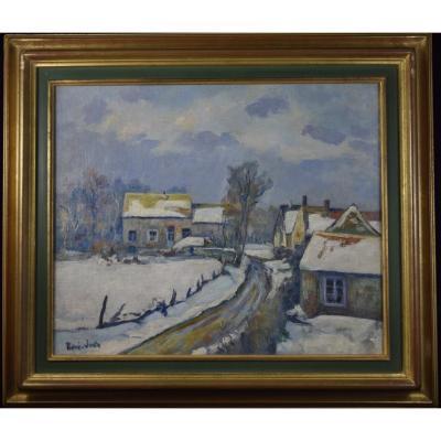 René Juste  (1868-1954), Grosrouvre  sous la neige, huile sur toile.