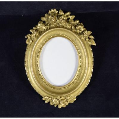 Cadre photo ou de miniature en bronze doré ,époque Napoléon III