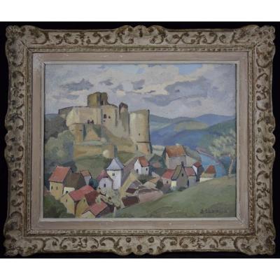 """ELIZAGA  ( 1896-1981) """" le château de Castelnaud  en Dordogne"""", Huile sur panneau"""