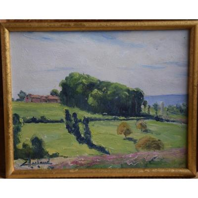 "Camille Merlaud  ( 1877-1957 ) "" Environs de Verteillac ""Huile /papier"