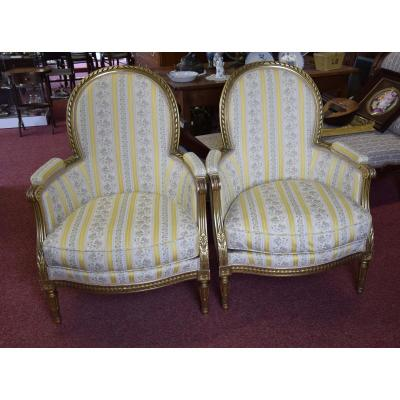 Pair Of Gilt Wood Armchairs In Louis XVI Style, 19th Century
