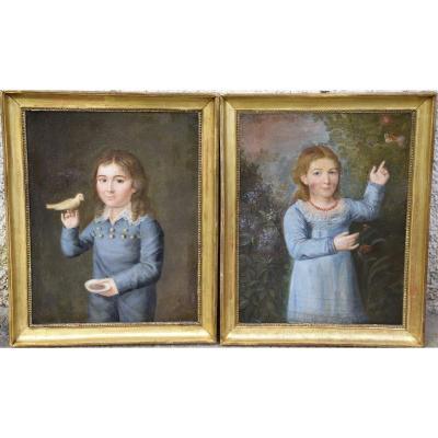 Paire de portraits d'enfants , attribués à Haüer (1751-1829),époque Empire
