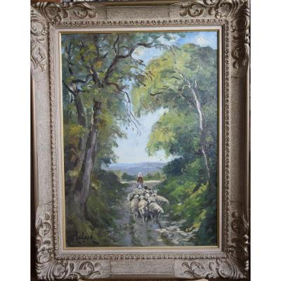 """Camille Merlaud (1870-1956) """"Bergère et son troupeau """", huile sur panneau"""