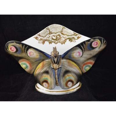 """Vide Poche """"Papillon"""" en porcelaine polychrome ,Limoges"""