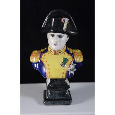Buste De Napoléon 1er En Faïence Vernissée