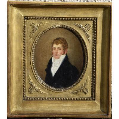 Portrait d'un  gentilhomme à la redingote , Epoque Empire, huile sur carton