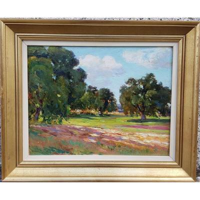 """Emile Chaumont ( 1877-1927)"""" paysage impressionniste """" huile sur panneau  datée 1912"""