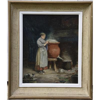 """Camille  Merlaud  (1870-1956) """"la lessive"""" , huile sur panneau ."""