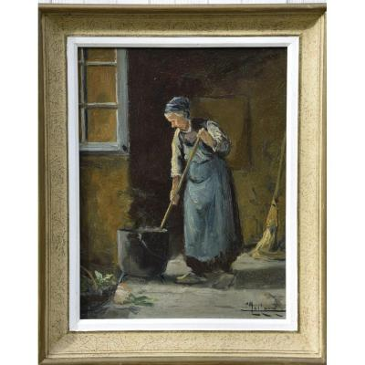 """Camille  Merlaud  (1877-1956) """"scène de la vie rurale en Périgord"""" , Huile sur panneau"""