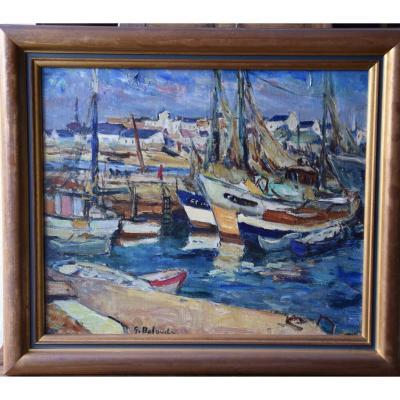 """Gaston Balande ( 1880-1971) ,"""" le port d' Etel  """", huile sur toile"""