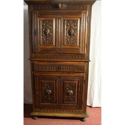 Two-body Sideboard, Cabinet, In Walnut, Neo-renaissance Style.
