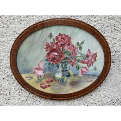 Bouquet de roses , aquarelle sur toile , signée  M. Huteau  vers 1930