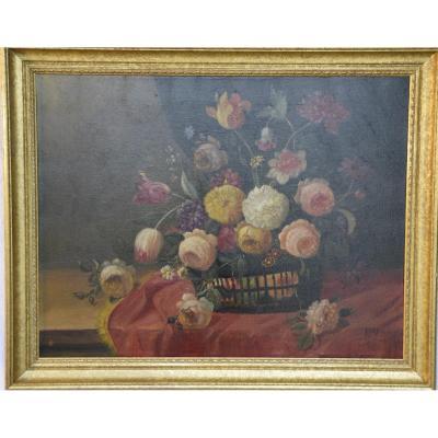 Bouquet Of Flowers, Italian School, Oil On Canvas