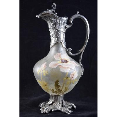 Victor Saglier (1840-1890) Silver-plated Ewer And Enamelled Glass.