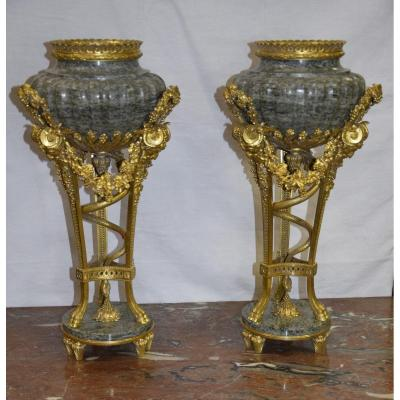 Pair Of Casseroles Perfume Burner, Marble And Gilt Bronze, After Pierre Gouthière (1732-1813)