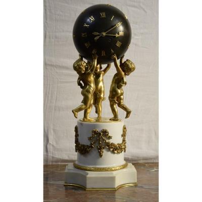 Clock With Globe Terrestre, Louis XVI Style, Napoleon III Period