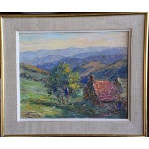 """Victor Guguen  (1882-1969) """"paysage provençal """" Huile sur panneau"""