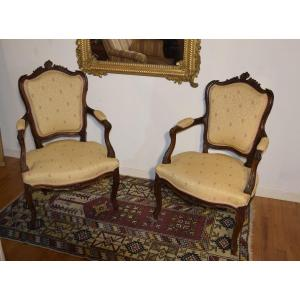 Pair Of Walnut Armchairs, Louis XV-rococo Style
