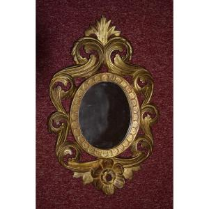 Small Mirror In Carved And Gilded Wood, Lxv Style