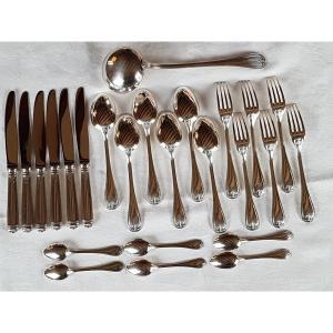 Ménagère  en métal argenté , Maison Christofle , modèle Malmaison,pour 6 personnes.