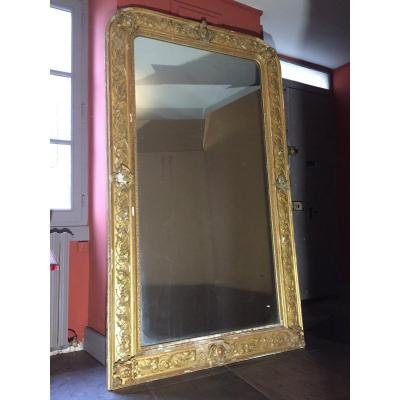 Large Mirror In Wood And Golden Juice