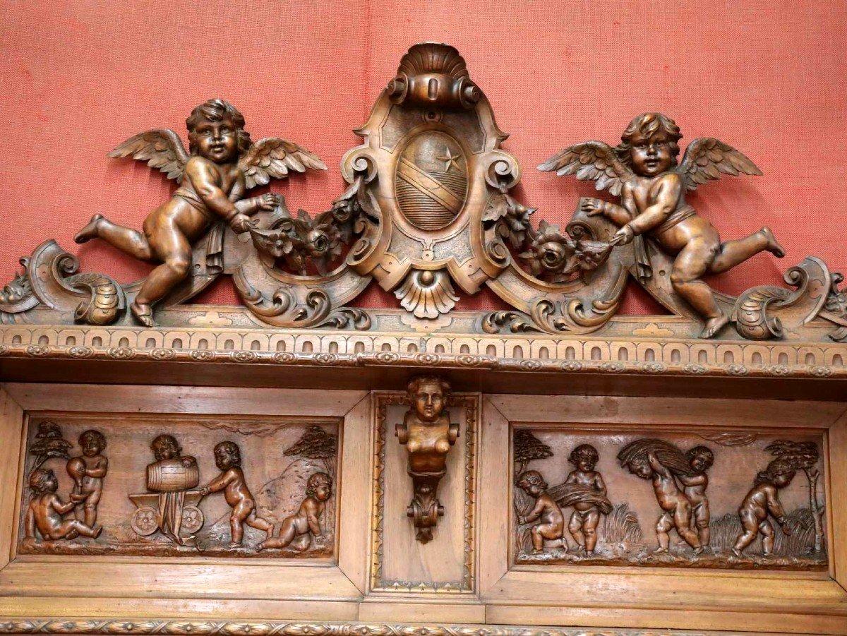 Exceptionnel Buffet En Noyer Richement Sculptés Vers 1880 Style Renaissance -photo-4