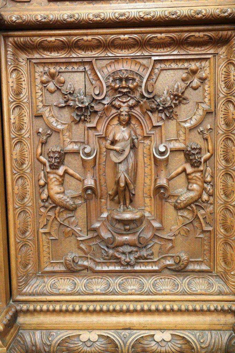 Exceptionnel Buffet En Noyer Richement Sculptés Vers 1880 Style Renaissance -photo-3