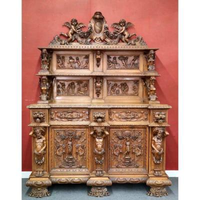 Exceptionnel Buffet En Noyer Richement Sculptés Vers 1880 Style Renaissance