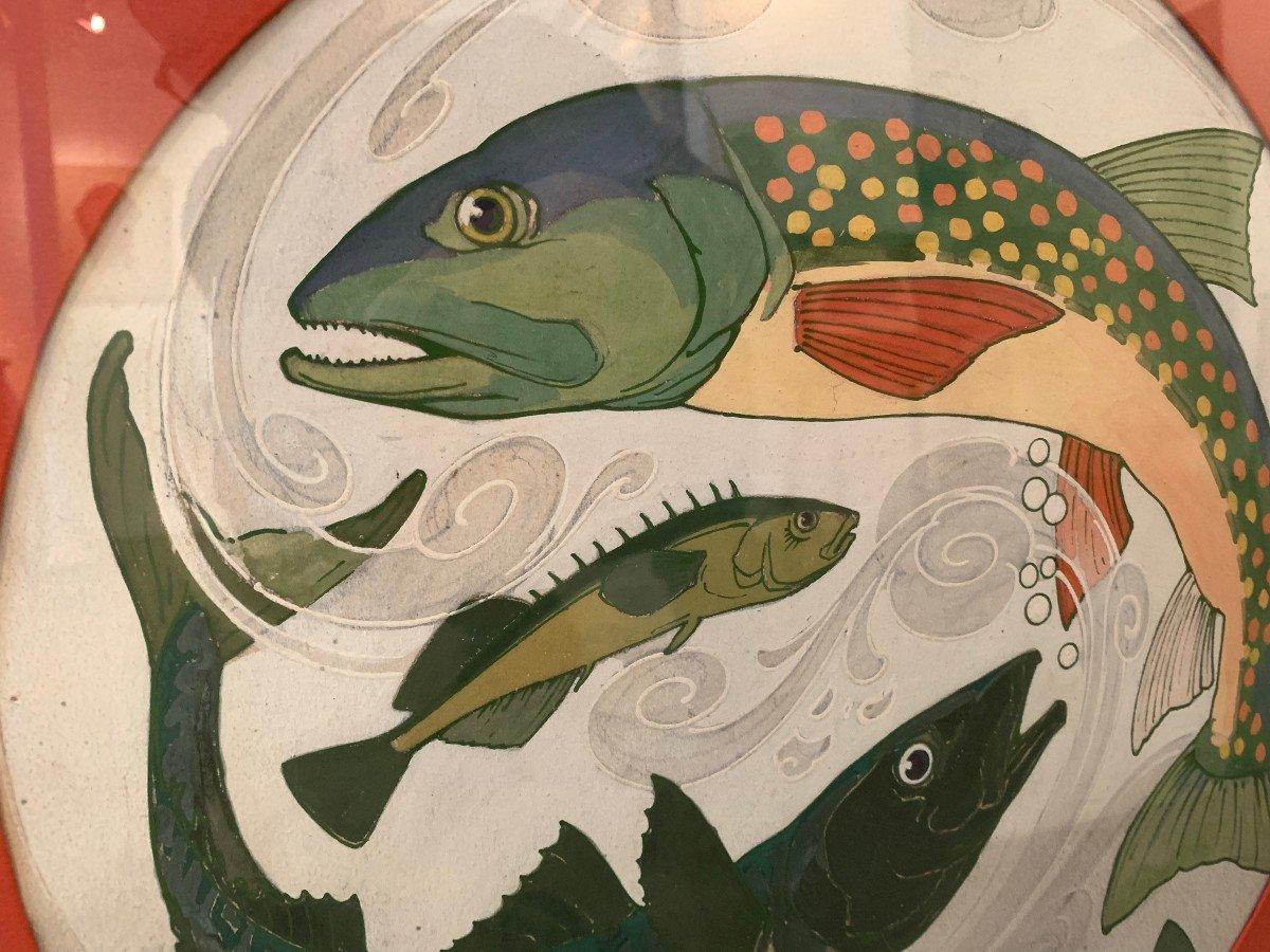 """Paire de gouaches """" poissons"""" provenant du fond de la faïencerie de Sarreguemine -photo-1"""