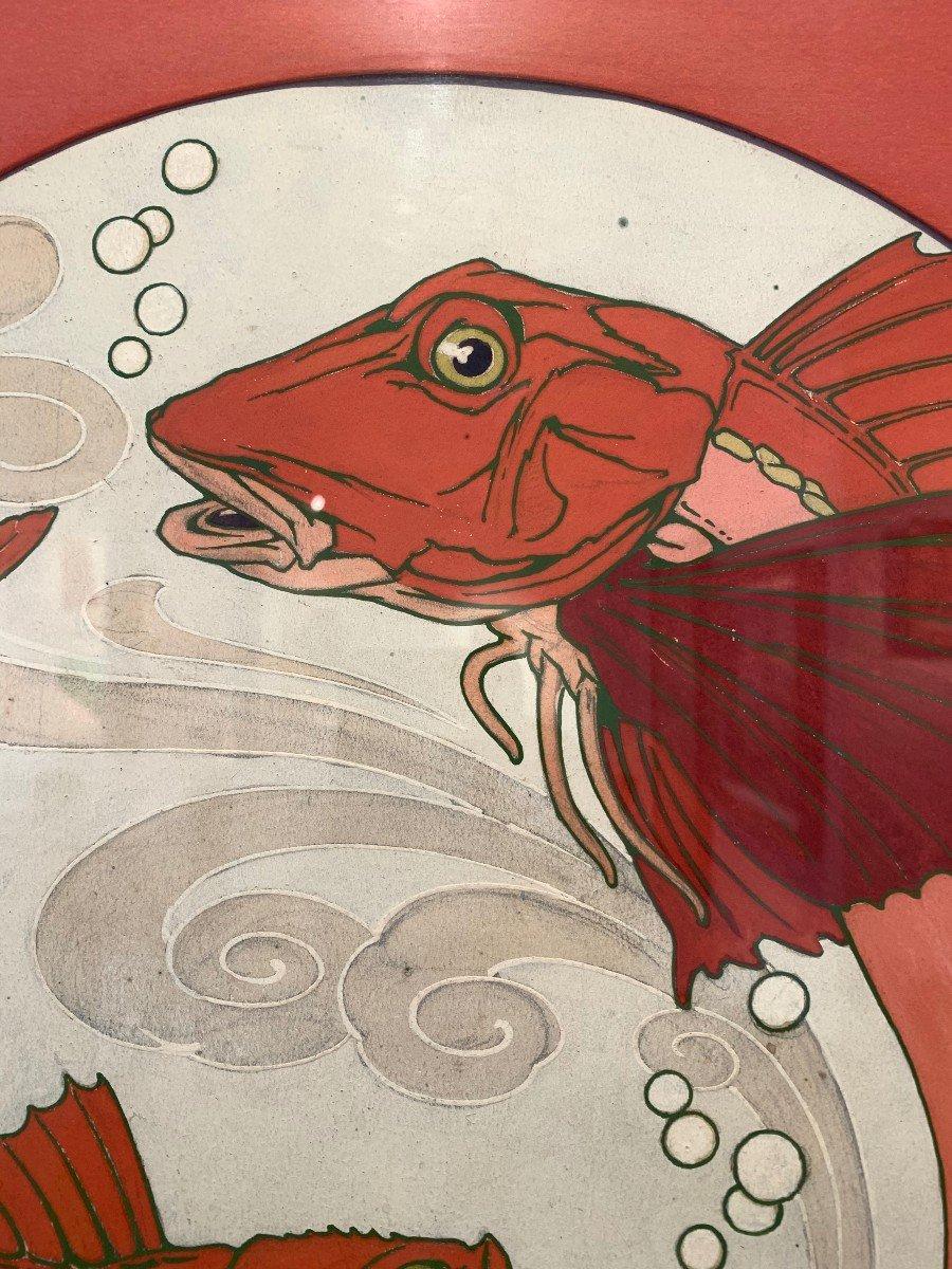 """Paire de gouaches """" poissons"""" provenant du fond de la faïencerie de Sarreguemine -photo-2"""