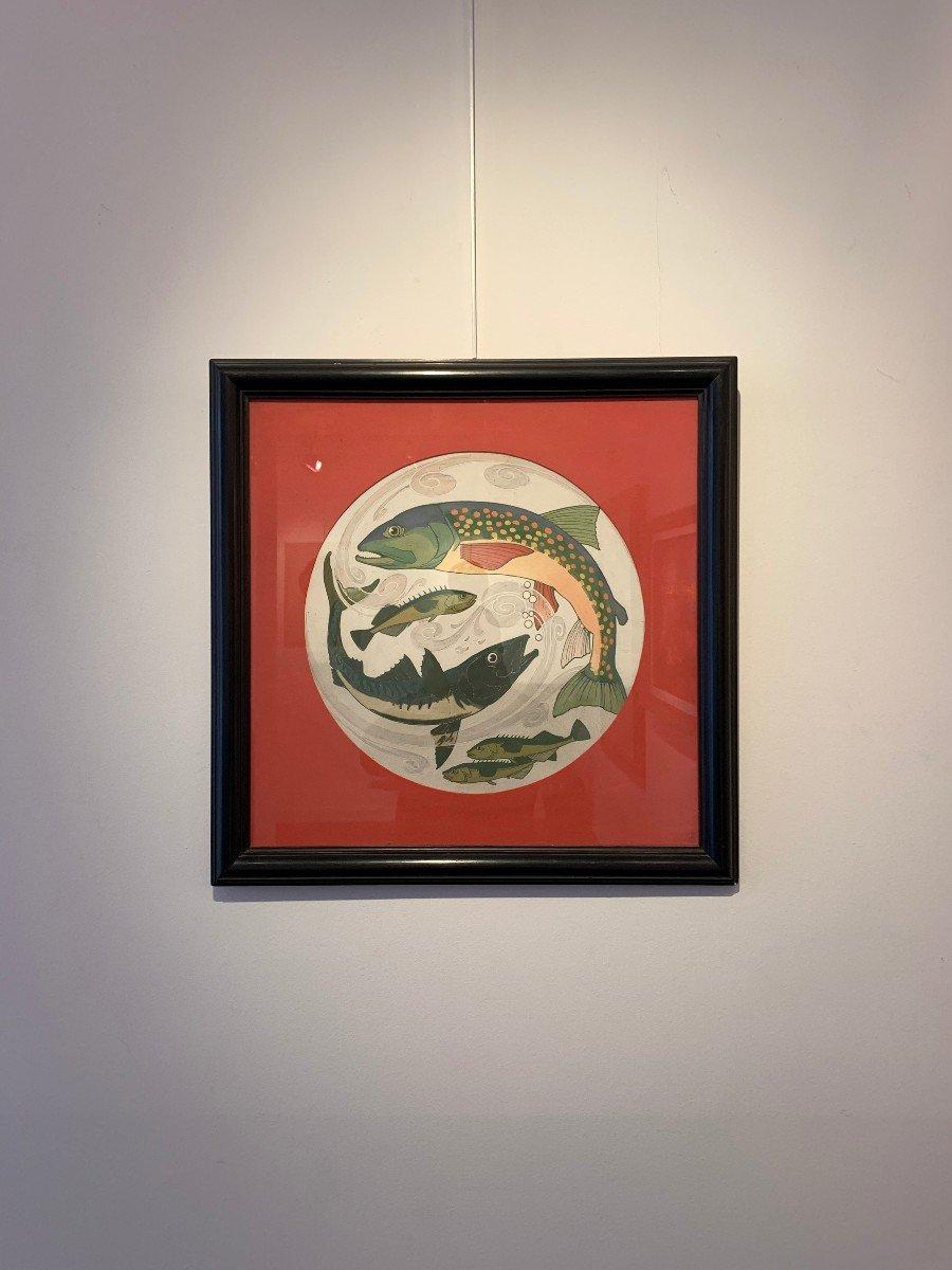 """Paire de gouaches """" poissons"""" provenant du fond de la faïencerie de Sarreguemine -photo-3"""