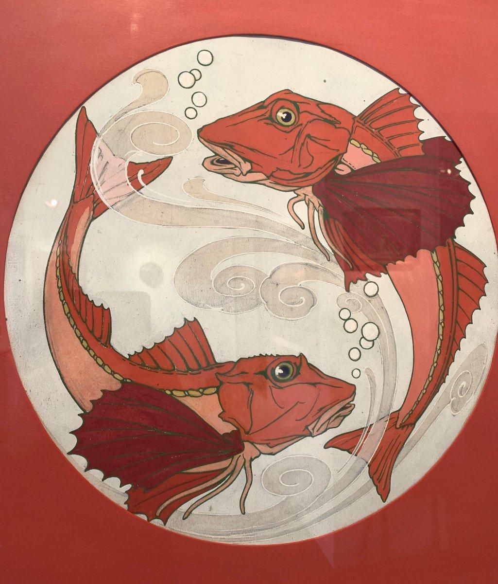 """Paire de gouaches """" poissons"""" provenant du fond de la faïencerie de Sarreguemine"""