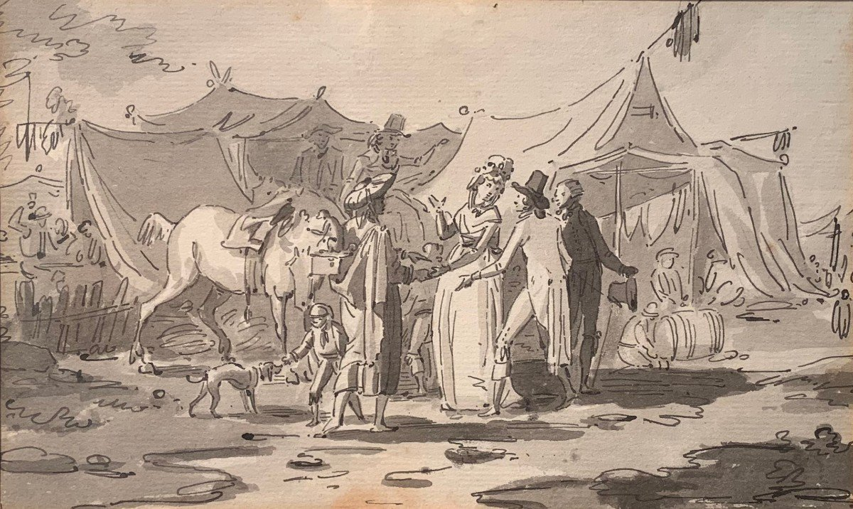 """French School End Of The 18th Century - """"camp Scene"""" - Framed Drawing"""