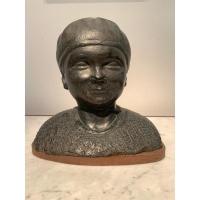 Sculpture En Bronze d'André Abbal - Jacques Au Béret