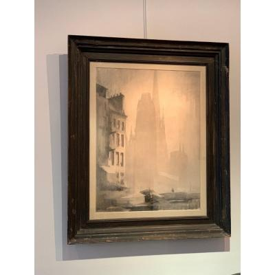 View Of Rouen - Large Charcoal By Michel Frechon
