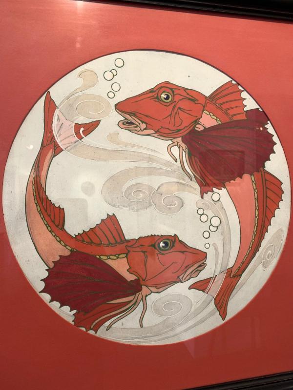 """Paire de gouaches """" poissons"""" provenant du fond de la faïencerie de Sarreguemine -photo-4"""