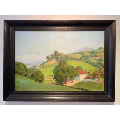 La Colline De Bordagain - Huile Sur Toile De Charles Lacoste - 1921