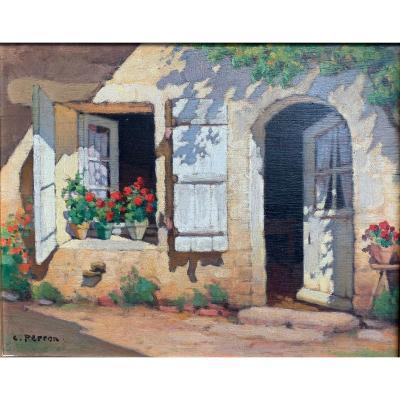 Charles Perron - Les Géraniums - Huile Sur Panneau
